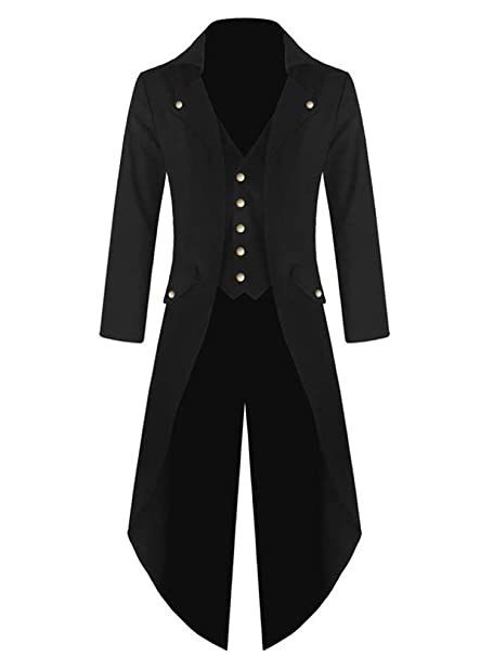 Humorjoy Mens Gothic Swallow Tailed Coat Victorian Long Trench Coat Button Down Jacket