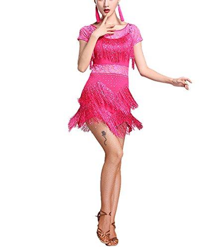 Fringe Sparkle Lace Short Sleeve Dance Costume Dress for Group Performance Stage ()