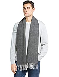 Men's 100% Pure Cashmere Winter Scarf; 2-Ply Dehaired