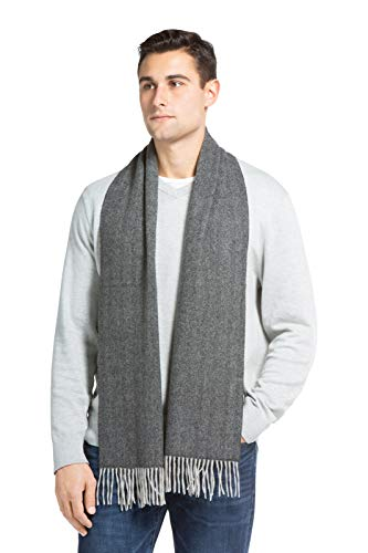 Fishers Finery Men's 100% Pure Cashmere Scarf; Super Soft and Warm (Herringbone)