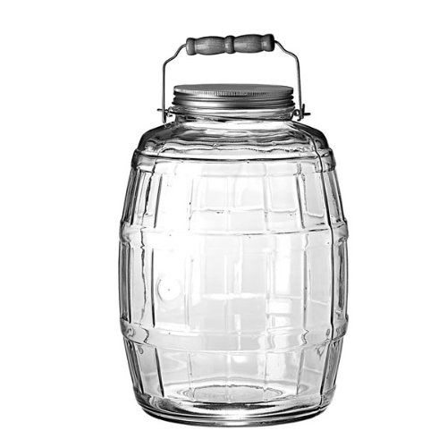 Anchor Hocking 2.5-Gallon Glass Barrel Jar with Brushed Aluminum