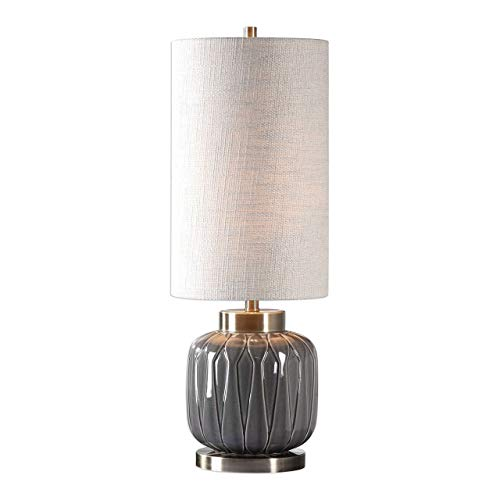 Uttermost 29559-1 Zahlia - One Light Table Lamp, Aged Gray/Antique Brass Finish with Light Khaki Linen Fabric Shade