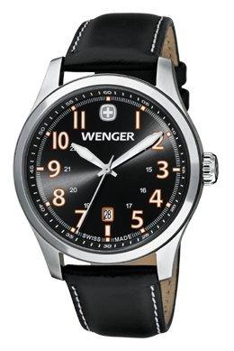 Wenger-0541104-Mens-Terragraph-Orange-Accents-Black-Dial-Dark-Gray-Leather-Strap-Watch