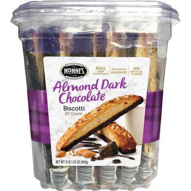Nonni's Almond Dark Chocolate Biscotti With Real Almonds 25ct ( 2lb )