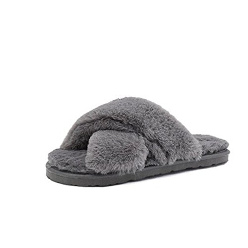 GIY Womens Winter Warm Slippers Fur Indoor Slippers For Women Fuzzy Cozy Plush Non-slip House Slippers Gray 08UpQQf6