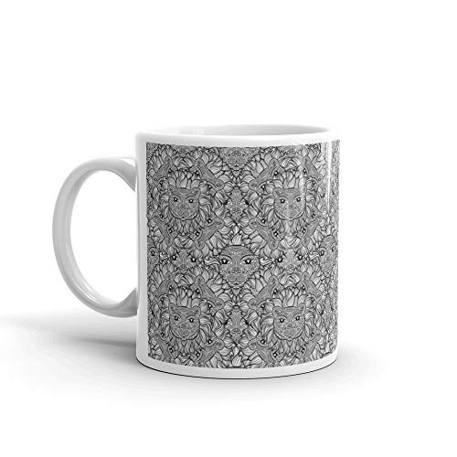Seamless Pattern With A Lion Heads On White Background Hand Drawn Black And Leo Zodiac Funny Cute Mug Cup Ceramic 11oz