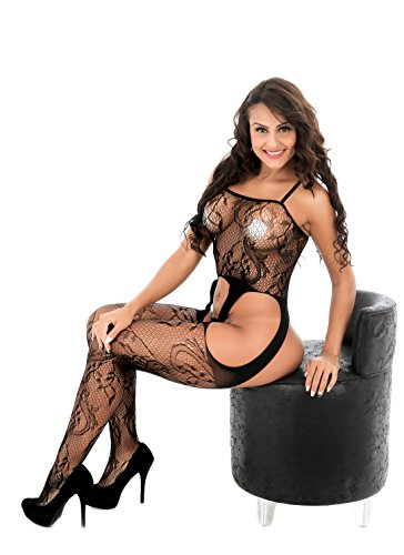 Cctiwee Frauen Hollow Out Fishnet Bodystocking Open Crotch Strap Blumen Lace Bodysuit Dessous