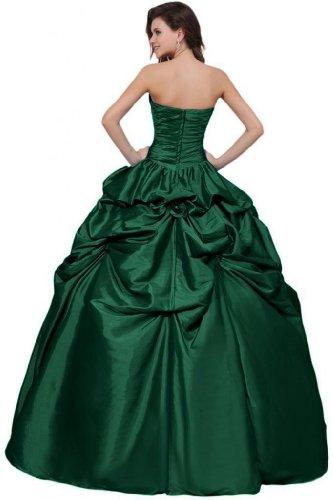 Green Dark Floor Length Sweetheart Gown Women's Satin Dresses Quinceanera Dearta Ball 7aq4wAxvH