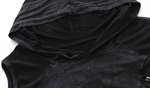 Nite closet Punk Tshirts for Women Steampunk Tops Cut Out Cool Shoulder Shirts Black 5