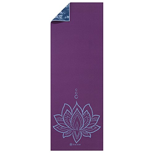 Gaiam Premium Print Reversible Yoga Mat Purple Lotus 5mm