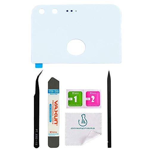 OmniRepairs Rear Facing Camera Lens Glass Frame Cover Replacement Compatible for Google Pixel 5.0 with Pre-installed Adhesive and Repair Toolkit (White)