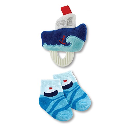 Stephan Baby Transportation Collection Plush Crinkle Rattle Teething Toy and Bootie Socks Gift Set, Blue Boat, 3-12 Months