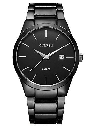 GOHUOS Mens Watches Business Auto Date Calendar Black Analog Display Stainless Steel Strap Classic Watch Auto Calendar Watch