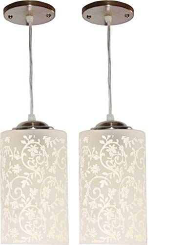 MBG Royal Fancy E27 Single Head Vintage Hanging Pendant Ceiling Light Lamp (White, Pack of 2)