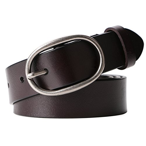 Women's Cowhide Leather Belt Ladies Vintage Casual Belts for Jeans Shorts Pants Summer Dress for Women