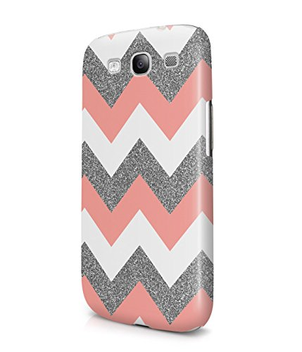 Coral Pink Chevron Glitter Pattern Tumblr Plastic Snap-On Case Cover Shell For Samsung Galaxy S3