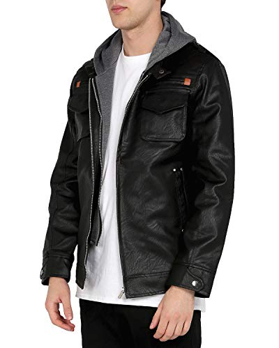 WEEN CHARM Mens Faux Leather Jacket with Hood Long Sleeve Premium Stand Collar Zip Up Racer Hoodie Leather Jacket