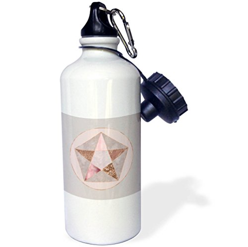 3dRose Andrea Haase Art Illustration - Elegant Geometric Star With Rose Gold And Pastel Pink Texture - 21 oz Sports Water Bottle (Pink Shimmering Stars)