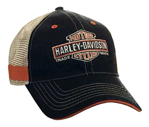 Harley-Davidson Men's Embroidered Long Bar & Shield Mesh Trucker Cap BCC31212 Black (Harley Ball Cap)