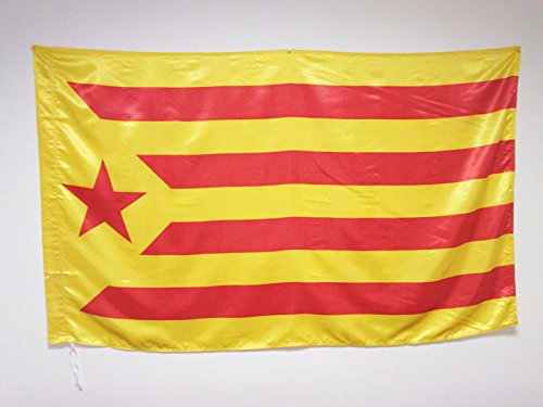Catalan Flag (CATALONIA ESTELADA VERMELLA FLAG 3' x 5' in SATIN for a pole - INDEPENDENTIST CATALAN GROGA FLAGS 90 x 150 cm - BANNER 3x5 ft with hole - AZ FLAG)