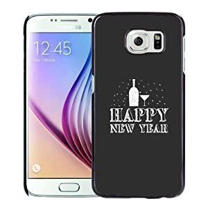 NEW Unique Custom Designed Samsung Galaxy S6 Phone Case With Happy New Year Drinks Minimal_Black Phone Case