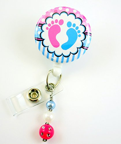 Nurse Baby Feet - Name Badge Reel - Retractable ID Badge Holder - Nurse Badge - Badge Clip - Badge Reels - Pediatric - RN - Name Badge Holder