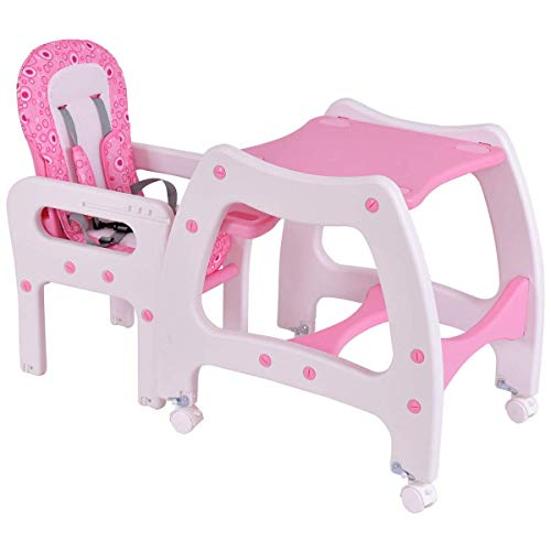 HONEY JOY 3 in 1 Infant High Chair Convertible Play Table Seat Booster with Feeding Tray ()