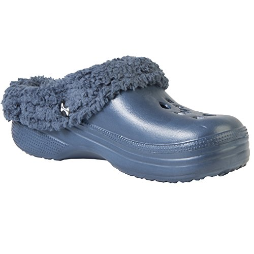 DAWGS Hounds Women's Fleece Clogs Navy Indoor Outdoor Fluffy Slippers 5-6 B(M) US (Clogs Dawgs Womens Fleece)