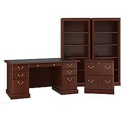 Bush Furniture Saratoga Executive Desk, Lateral File Cabinet and Two 5 Shelf Bookcases in Harvest Cherry