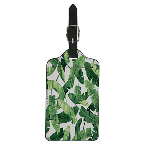 (Pinbeam Luggage Tag Green Leaf Tropical Pattern Banana Leaves Beach Aloha Suitcase Baggage Label)