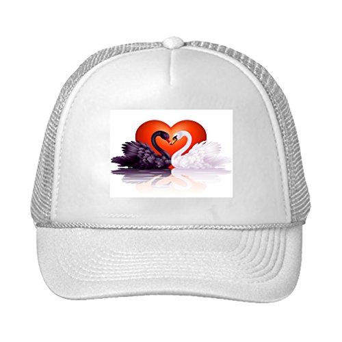 Speedy Pros Two Graceful Swans Love Adjustable High Profile Trucker Hat Cap (Graceful Swan)