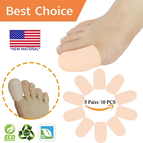 Gel Toe Caps Toe Protectors Toe Sleeves *New Material* for Blisters, Corns, Hammer Toes, Ingrown Toenails, Toenails Loss, Friction Pain Relief and More (Big Toe CAPS)