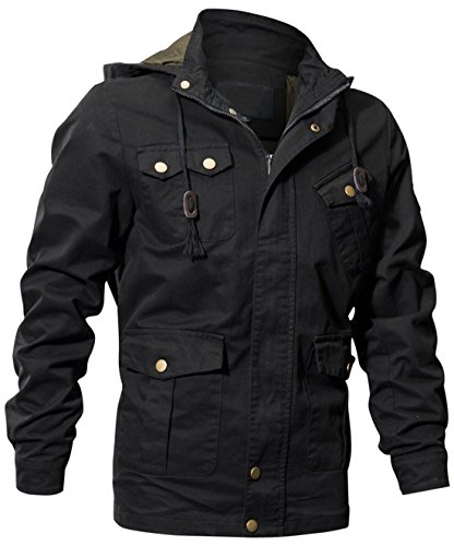 on Military Style Zip-Front Drawstring Hooded Bomber Jackets (Black, X-Large) ()