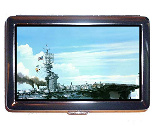 Hard Box Full Pack Cigarette Case,Aircraft Carrier USS Gambier Bay Stainless Steel Card Holder (King Size)