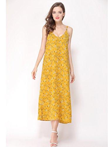 Print Dress Yellow Women's FURAMI Floral Spaghetti Boho Long Maxi Strap Summer Casual xgx1AYqa