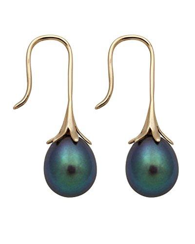 14K Yellow Gold 8.0-9.0mm Black Cultured Freshwater Pearl Drop Dangle Earrings by Pearlzzz