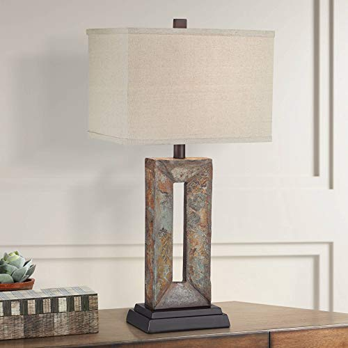 (Tahoe Rustic Table Lamp Natural Stale Rectangular Box Shade for Living Room Family Bedroom Bedside Nightstand Office - Franklin Iron Works)