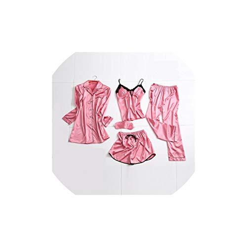 Sleepwear Women's 5 Pieces Pajamas Sets Emulation Silk Pajamas Women Sets Sexy Lace Homewear,3,XXL