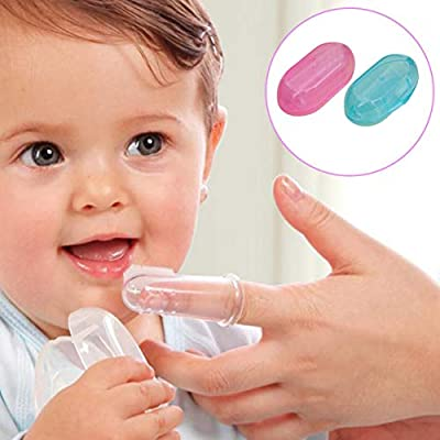 Lironheel Baby Toothbrush Food Grade Silicone Finger Toothbrush for Baby & Toddlers Toothbrush Teether and Oral Massager: Home & Kitchen
