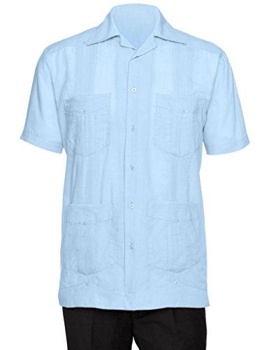 Gentlemens Collection Mens Short Sleeve Cotton Blend Guayabera Shirt Light Blue 2X