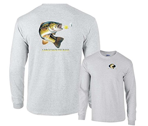 Ash Bass (Fair Game Largemouth Bass Profile Long Sleeve Shirt-Ash-2x)