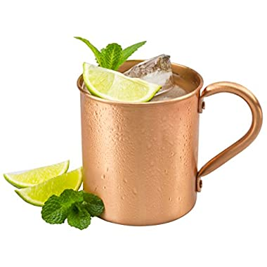 Moscow Mule Pure Copper Mug: 100% Solid Copper Cup, 16 Ounces, No Inner Linings, Perfect for Russian Moscow Mules, Cocktail and Cold Drinks, with Quick Cocktail Recipe Ebook
