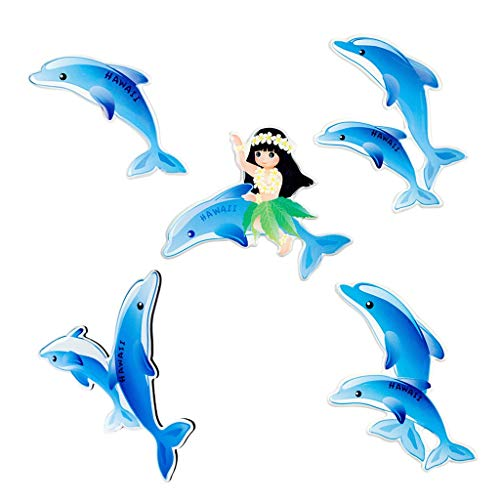 Refrigerator Magnets-5 Pcs Cute Blue Dolphin Series Magnetic Refrigerator Stickers
