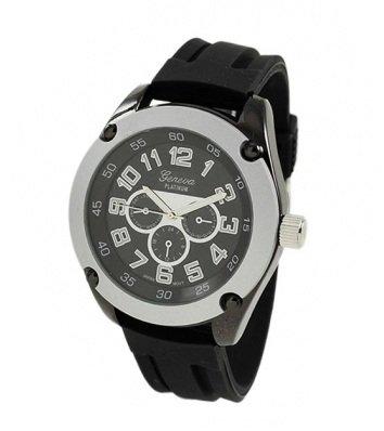 GENEVA PLATINUM 12224512 Men's Decorative Chronograph-style Silicone Watch- SILVER, Watch Central