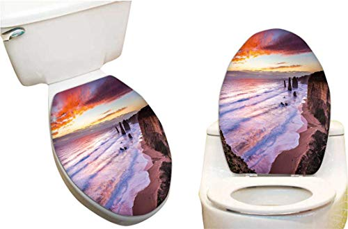 Decal Great Planes Set (Toilet Toilet Lid Decal Sticker The Sun Sets Over The twelves Apostles Great oce ROA Australia Toilet Seat Lid Cover Decals Stickers6 x7.5)