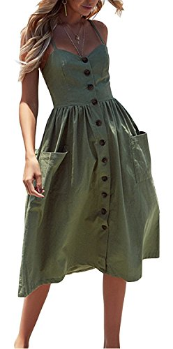 Womens Dresses Summer Floral Swing Midi Dress Spaghetti Strap Button Down Dress with Pockets Army Green US 0/2 ()