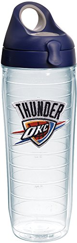 Tervis 1231063 NBA Oklahoma City Thunder Primary Logo Tumbler with Emblem and Navy with Gray Lid 24oz Water Bottle, Clear by Tervis