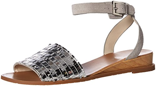 Kenneth Cole New York Women's Jinny Flat Ankle Strap Sandal Silver discount sast discount how much sale with credit card b5dPx