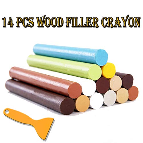 Furniture Repair Kit Wood Filler - 14 Colors+1 Scraper - Wax Stick Crayons for Scratches, Nail Hole, Wood Floors, Tables, Desks, Carpenters, Bedposts