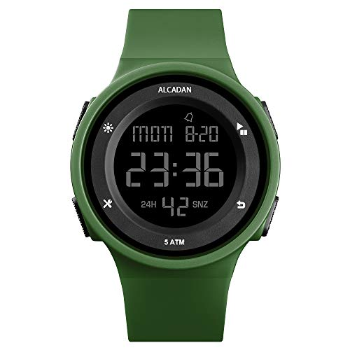 ALCADAN Digital Outdoor Sports Waterproof Watch for Men's and Woman Military Stopwatch Countdown Auto Date Alarm 1445 (Green)
